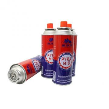 Tin aerosol can and gas cartridge for portable camping stoves